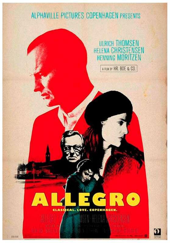 Allegro film poster / director: Hr. Boe & Co. starring: Ulrich Thomsen, Helena Christensen & Henning Moritzen
